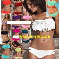 Wholesale Padded Bikini Prices - Stock Price For Long Term Partnership Newest Sexy Women Bikini Swimwear Padded Boho Fringe Tassels Real Class 12 Color 50sets lot Free DHL