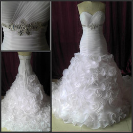 Wholesale Dress Detail Waist - Sweetheart Mermaid Wedding Dresses Custom Made Lace Up Bridal Gown Ruched Top Exquisite Crystals Waist Ruffles Skirt Court Train
