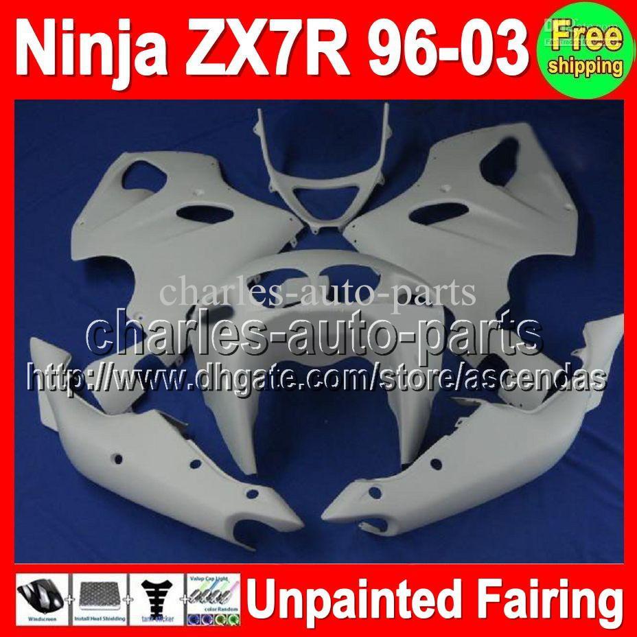 7FIFTS UNPAINTED Full Fairing Kit för Kawasaki ZX750 ZX-7R 96-03 ZX7R ZX 7R 1996 1997 1998 1999 2000 2001 2003 2003 Fairings Bodywork Body