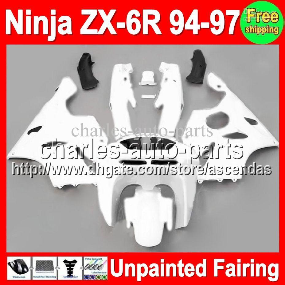 7GIFTS UNPAINTED FULL FAIRING KIT FÖR KAWASAKI NINJA ZX-6R 94-97 ZX6R ZX 6R 6 R 94 95 96 97 1994 1995 1996 1997 Fairings Bodywork Body