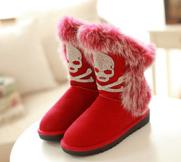 Wholesale Sexy Flat Comfortable Shoes - Newest sexy comfortable high quality womens skulls snow boots Winter warm Boots cotton-padded shoes