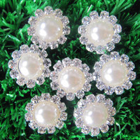 Wholesale 15mm Round Pearls - Free Shipping!100pcs lot 15MM round metal rhinestone button with pearl center wedding embellishment DIY accessory factory price