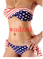 Wholesale Tube Bandeau Bikinis - 3pc Women Sexy bikini swimsuit swimwear STARS and STRIPES USA Flag with padding bandeau tube swim wear