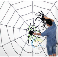 Wholesale Large Animal Net - Free shipping 3 meters 6 ring extra large Halloween bar decoration plush One Spider net (black or white)and two Spiders randomly