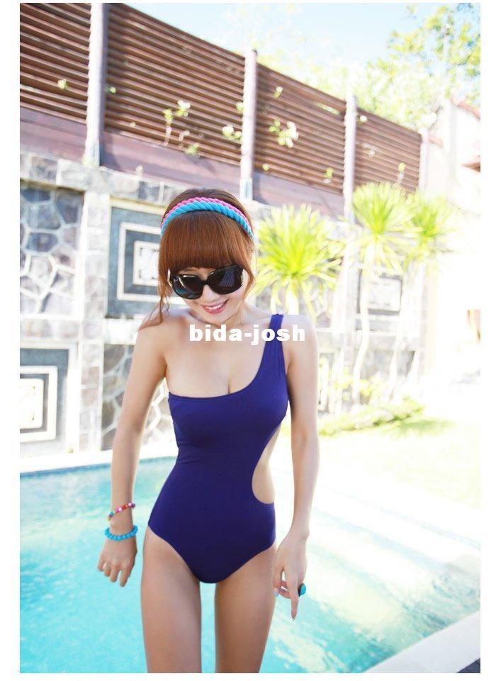 Free shipping fashion One-Shoulder Cut Out Padded Swimsuit Swimwear sexy Bathing suit swimming wear One Pieces Monokini bikini