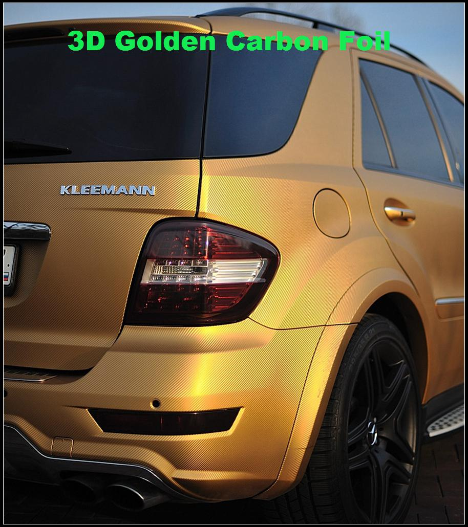 Oro 3D Fibra de carbono Envoltura de vinilo Carbono Fuego 3D Car Wrap Película con liberación de aire Para vehículo / mesa / barco / loptop tamaño de piel 1.52x30m / rRoll