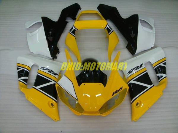 Kit de Carenagem de motocicleta para YAMAHA YZFR6 98 99 00 01 02 YZF R6 1998 2002 YZF600 Amarelo branco preto Carenagens set + presentes YG05