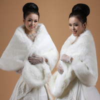 Wholesale Plus Size Fur Shawl - Plus Size 150x50cm Wide Soft White  Black Faux Fur Shrug Cape Stole Winter Wrap Wedding Bridal Special Occasion Shawl