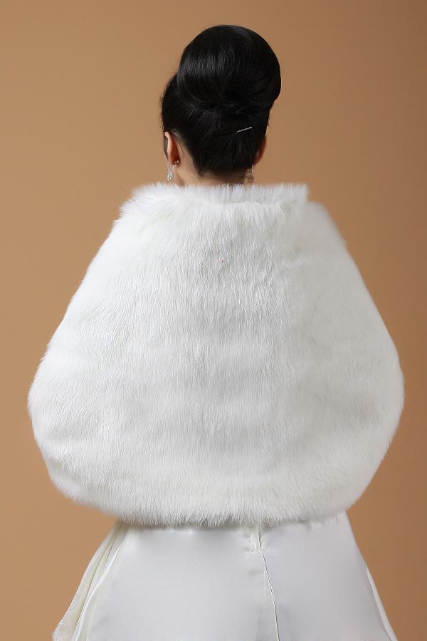 Plus Size 150x50cm Wide Soft White /Black Faux Fur Shrug Cape Stole Winter Wrap Wedding Bridal Special Occasion Shawl