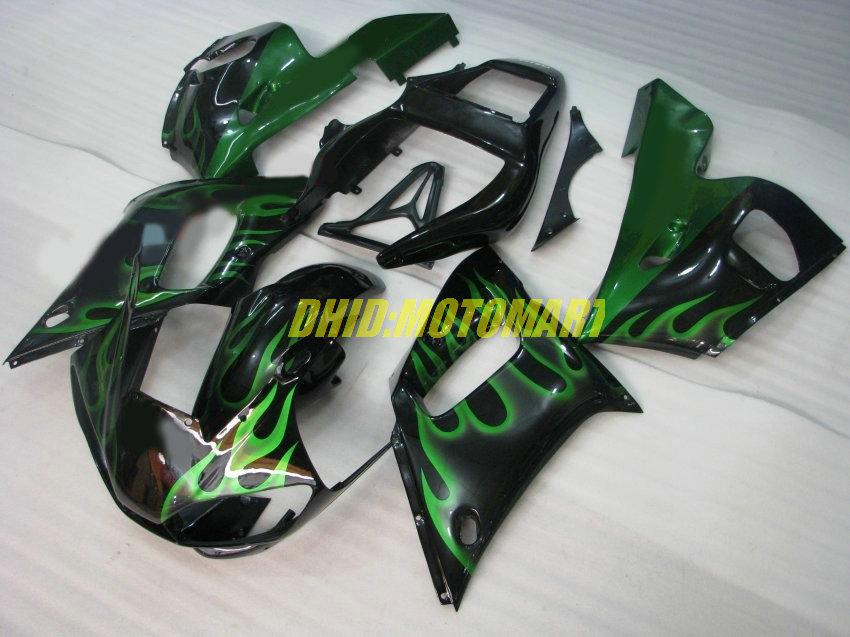 Fairing kit for YAMAHA YZF R6 98 99 00 01 02 YZFR6 YZF600 1998 1999 2002 Green flames black Fairings set+7gifts YF28
