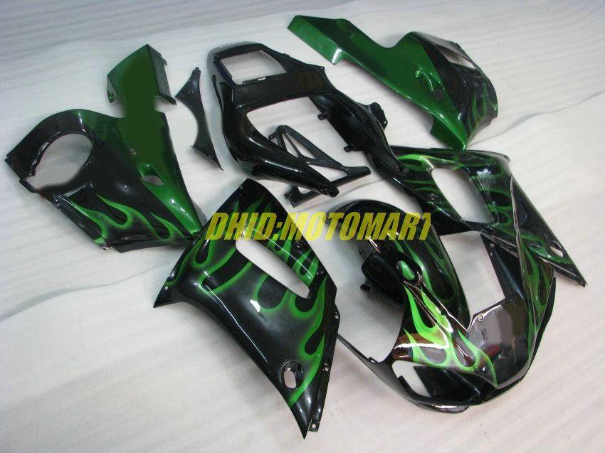 Kit de carenado para YAMAHA YZF R6 98 99 00 01 02 YZFR6 YZF600 1998 1999 2002 Llamas verdes negro Carenados + 7 regalos YF28