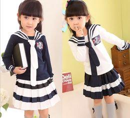 Wholesale Children Clothing Wholesale Prices - Factory Price Fall Children School Clothing Set Japan Studen School Uniforms Girls Tshirt + Skirt 2pcs set Kids Suit QZ68
