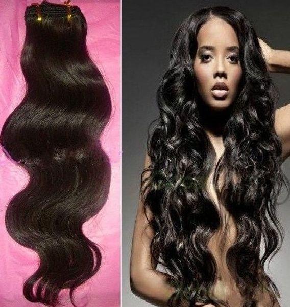 20% di sconto ! Tessuto non trattato dei capelli Estensioni brasiliane peruviane indiane malesi brasiliane dei capelli umani di 12-28 pollice 3PC / LOT doppia onda dell'onda del corpo