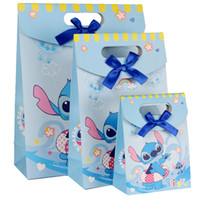 Wholesale Blue Gift Wrap Paper - 12.4*16.3*6cm Blue Wizard Cartoon Gift Package Decorative Paper Bags Gift Wrapping 50pcs lot WS024