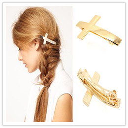 Wholesale Cross Barrette - Exquisite Latin Cross Golden Hair Clip Sliver Hair Jewelry Brrettes Girls Head Alloy Accessories