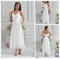 Wholesale Low Back Chiffon Wedding Gowns - Cheap 2015 A-Line V-Neck Ankle Length Beach Garden Wedding Dresses With a Wraps Sexy Low V-Back Party Gowns A-Line Chiffon Wedding Dresses