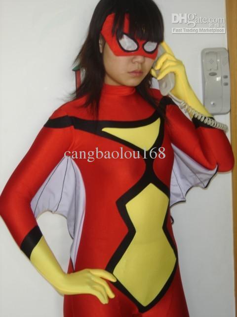 Utmärkt Lycra Spandex Zentai Halloween Cosplay Spider Kvinna med vingar S - XXL