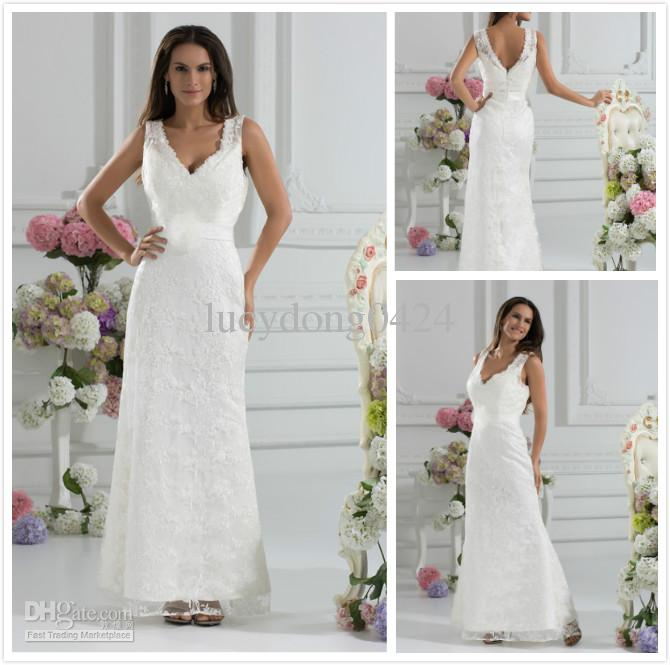 Discount Ankle Length 2013 V Neck Applques Lace A Line Wedding ...
