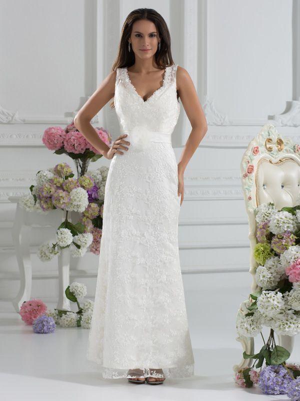 Moderne knöchellangen V-Ausschnitt Applques Lace A-Line Hochzeit Brautkleid Kleider 2013 Maßgeschneiderte Sexy Designer weiß Elfenbein