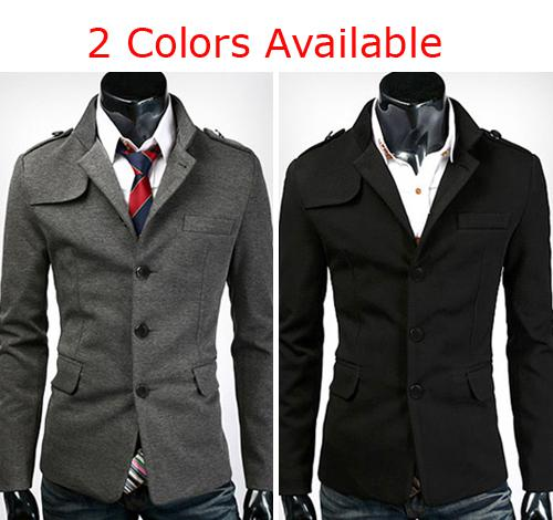 Trendy New Mens Man Slim Fit Stylish Single Breasted Casual Pea ...