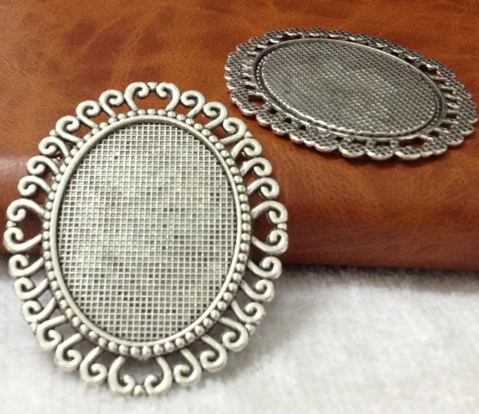 47*57mm Inner:30*40mm Alloy/Metal Antique Silver/bronze Lace Blank Tray Jewelry Base Cameo Cabochon Bezel Ppcs