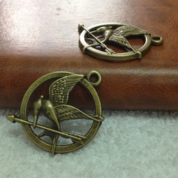 Wholesale Hunger Games Charms - Hot Selling 25mm 80pcs Metal   Alloy Antique Bronze Hunger Games Vintage Charms Jewelry Findings Fit Diy Making