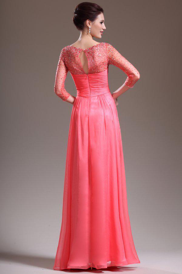 Neue 2019 Sexy exquisite Perlen Prom Kleider in voller Länge Abendkleider mit schiere Langarm 3382