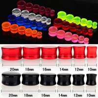 Wholesale Solid Gauge - 72Pcs Mix Colors Punk Transparent Solid Stretcher Ear Tunnels Plug Ear Expander Gauge Ear studs Unisex [BC107*6]