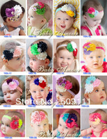 Wholesale Shabby Rhinestone - 10 pcs lot Newest baby headband,kid's hair band,diamond rhinestone pearl sequin bow shabby flower headband Christmas gift xth021