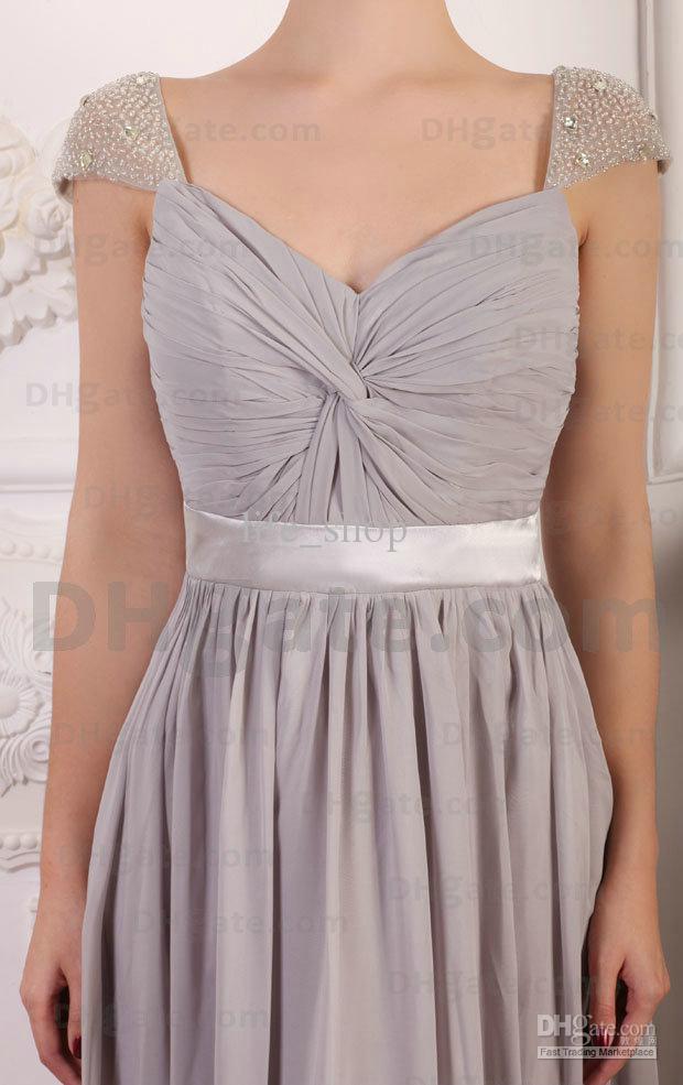 Long Günstige Chiffon Grey Brautjungfer Kleid nach Maß Perlen A-Line Bodenlangen Cap Sleeves