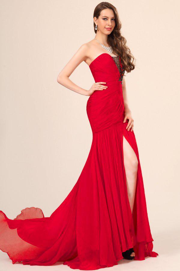 Envío gratis 2019 atractivo exquisito gasa con cuentas sirena roja sin mangas vestidos de baile vestidos de noche 3710