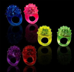 Wholesale Led Flash Blinking - Flashing Bubble Ring Rave Party Blinking Soft Jelly Glow Hot Selling!Cool Led Light Up