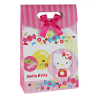Wholesale Paper Gift Bag 6cm - 12.4*16.3*6cm Small Pink Christmas Gift Bag Lovely Cartoon Cat Paper Bag Gift Wrap 50pcs lot WS032