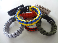 Wholesale Wholesale Custom Whistles - Custom 550 Paracord Parachute Survival Bracelets Hand Made with whistle many colors