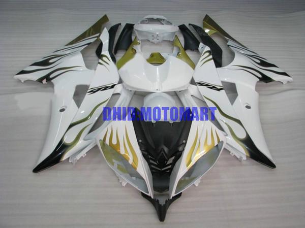 Kit de Carenagem de motocicleta para YAMAHA YZFR6 08 10 12 15 YZF R6 2008 2010 2012 YZF600 Chamas douradas brancas Carenagens set + presentes YJ08