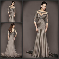 Wholesale Silver Blue Silk Evening Dress - Elegant Evening Dresses for Women 2015 Sexy Bling Beaded Embroidery Jewel Neck 3 4 Long Sleeve Elegant Ruched Mermaid Special Occasion Dress