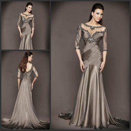 Wholesale Evening Crystal Sheath Jewel - Elegant Evening Dresses for Women 2015 Sexy Bling Beaded Embroidery Jewel Neck 3 4 Long Sleeve Elegant Ruched Mermaid Special Occasion Dress