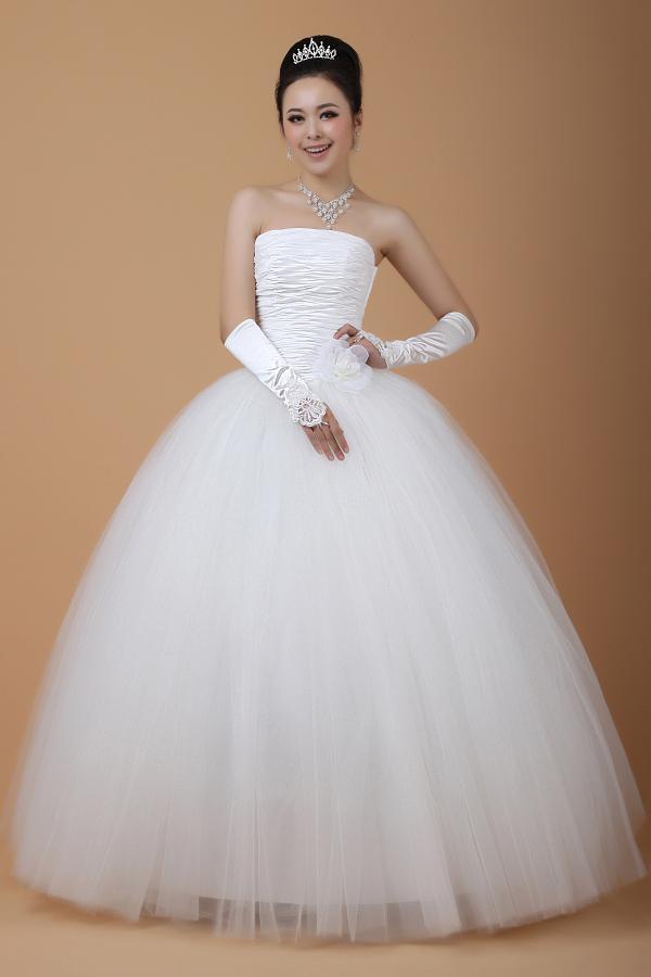 Gratis frakt ny ankomst whitetulle golv längd spets upp back klänning boll klänning bröllopsklänningar billiga pris brudklänning i lager