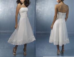 Бесплатная доставка новое прибытие белый белый органза чай длина привет-LO передняя короткие длинные назад аппликации бисером свадебные платья .Свадебное платье плюс от Поставщики длина чая длинная спина