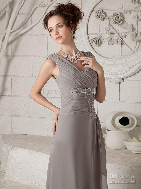 Topp som säljer v-hals ärmlös sexig mor till brudklänningarna rabatt av chiffon sopa tåg mor klänningar