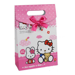 Wholesale Gift Wrapping Paper Cartoon - 17.5*26.6*8cm Cartoon Cat Gift Bag Gift Wrapping Paper Bag Party Supplies 24pcs lot WS035