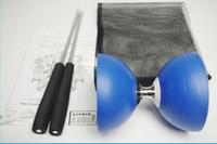 Wholesale Diabolo String - 3Colors One New Chinese YO YO 3 Bearing Diabolo Set Metal Sticks Blue Red Yellow String bag