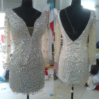 Wholesale Green Evenning Dress - Custom Made Sexy Beading V-Neck Mini Evenning Dress Prom Dresses Party Dress DH6280