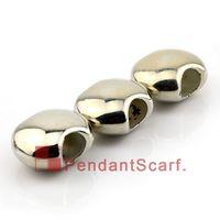 encantos deslizantes de colar de plástico venda por atacado-50 pçs / lote nova chegada diy colar de jóias pingente cachecol brilhar banhado a prata plástico charme ccb tubo de retenção, frete grátis, ac0072