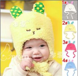 Wholesale Wool Colorful Hat Fashion - Fashion Baby girl boy children's soft plush fur caps hats kids cartoon rabbit winter warm earmuffs cap hat outwear colorful 100% cotton