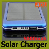 Wholesale Portable Battery Phone Chargers - Free shipping portable Solar Panel 5000mAh Portable Battery Backup Battery power bank Solar Battery Charger For Cell phone tablet PC