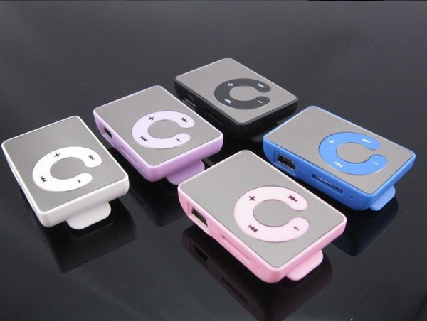 best selling Hot Selling Mirror Clip MP3 Player Support TF MicroSD Card With Earphone & USB Cable & Box 6 colors 12#