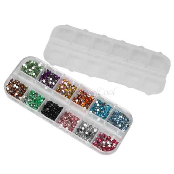 Wholesale - 3000 pcs Mix Color Nail Art Rhinestones Deco Glitters Gems 12 Different Colors