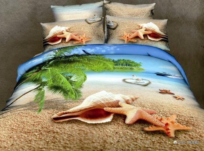 3d Blue Shell Beach Green Tree Ocean Comforter Bedding Set