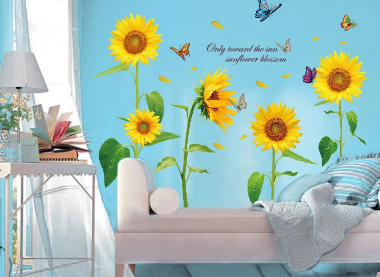 Sunflower Wall Stickers Romantic Living Room Bedroom Childrens Nursery Decor Sticker Decals Cheap